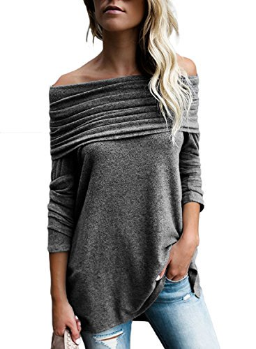 d54040ba029 Asvivid Womens Long Sleeve Off The Shoulder Button Down Tie Knot Strapless  Solid Tee Shirt Blouses Tops S Khaki