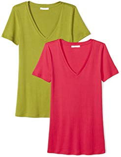 a65272aa5aba Amazon Essentials Women's 2-Pack Short-Sleeve V-Neck Solid T-Shirt, Bright  Pink/White, XX-Large